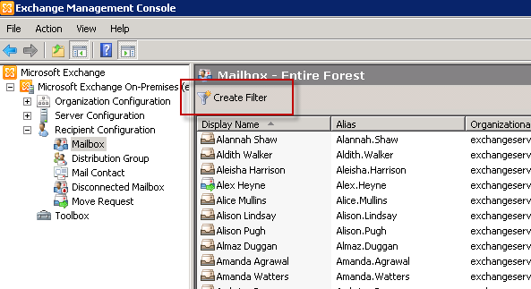 Creating filters in the Exchange Management Console