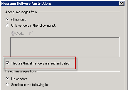 Exchange 2010: How to Restrict who can Send to a