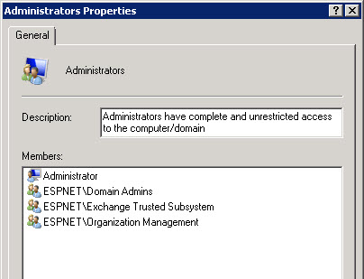 Exchange Trusted Subsystem group in local Administrators