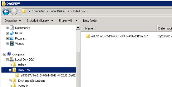 Database Availability Group File Share Witness directory