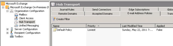 Exchange 2010's default email address policy