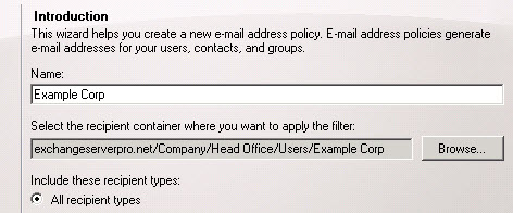 Select recipient container for new email address policy