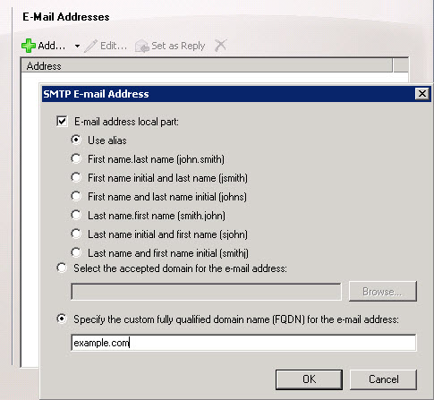 Configuring SMTP addresses for an email address policy