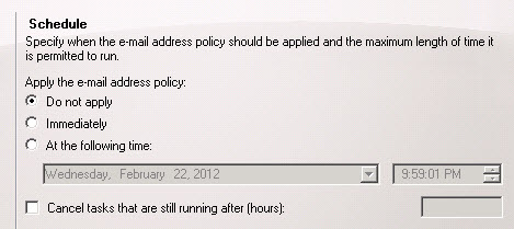 Choosing when to apply the email address policy