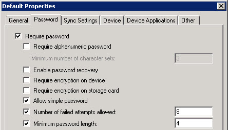 Exchange 2010 ActiveSync Policies