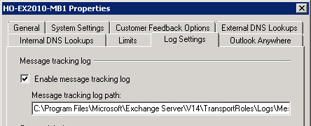 Enabling/disabling message tracking logs
