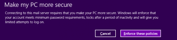 Windows 8 Mail client and Exchange ActiveSync policies