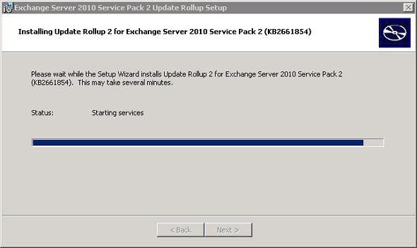 Services not starting after Exchange Server rollup installation