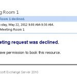 Restricting Room Mailbox Bookings to a Group in Exchange 2010