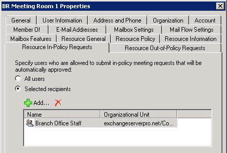 Restricting Room Mailbox Bookings to Specific Groups in Exchange 2010