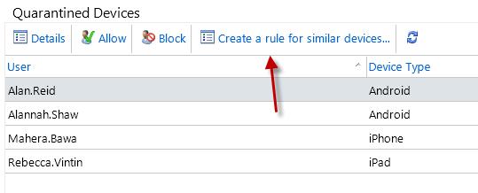 Creating an ActiveSync device rule