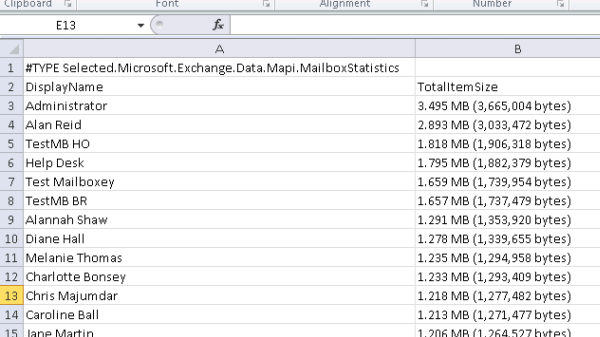 Get a List of the Top Exchange Server Mailboxes by Size