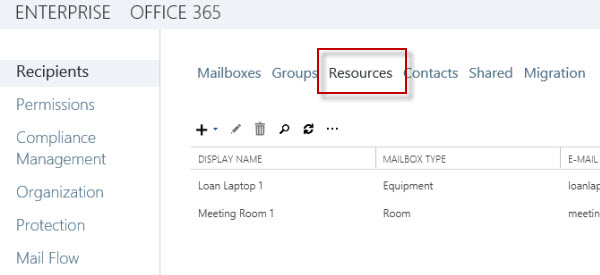 Exchange Server 2013 Room and Equipment Mailboxes