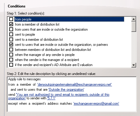 Restricting Outbound Email with Exchange Server Transport Rules