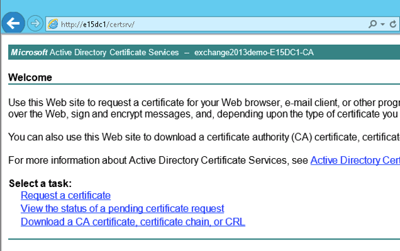 Issue an SSL Certificate for Exchange 2013 from a Private CA
