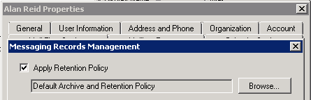 Exchange 2010 mailbox with retention policy