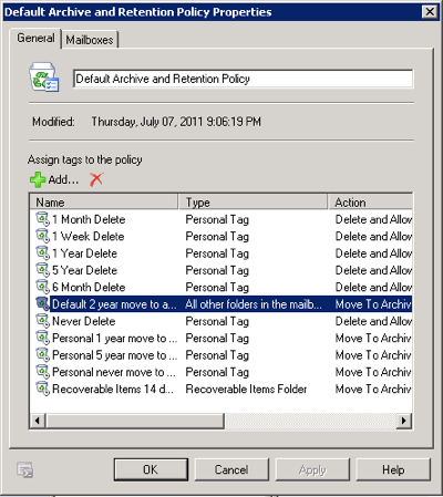 Exchange 2010 default retention policy