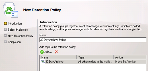 Exchange 2010 new retention policy