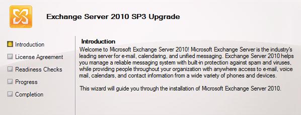Installing Exchange Server 2010 Service Pack 3