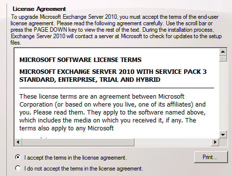 Installing Exchange Server 2010 Service Pack 3