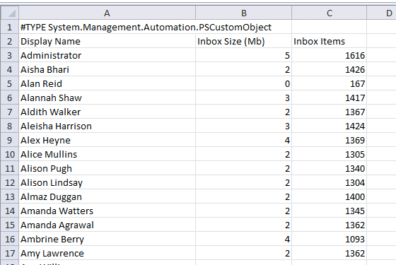 Reporting Mailbox Folder Sizes with PowerShell