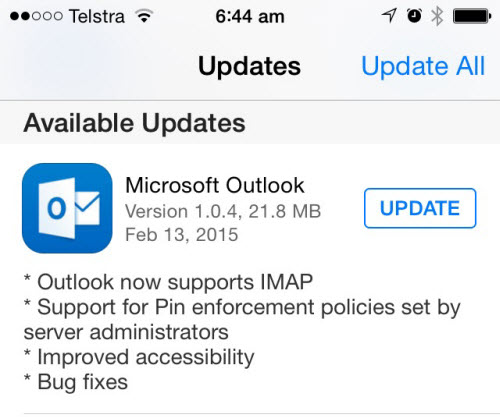 Outlook for iOS and Android Gets Support for PIN Policies