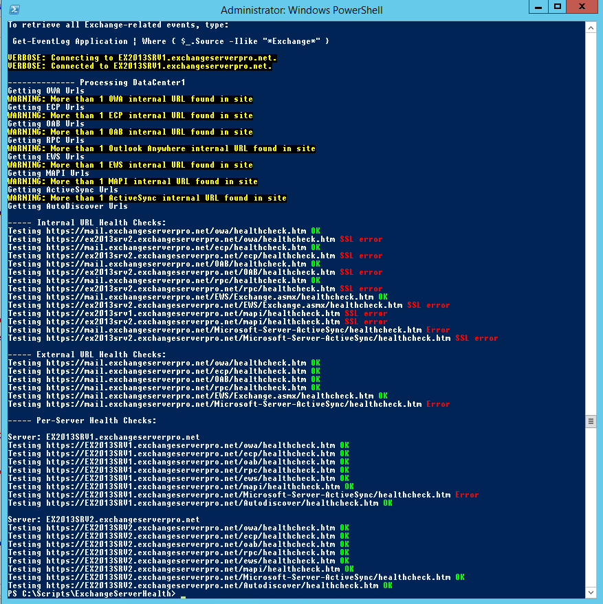Testing Exchange 2013 Client Access Health with PowerShell