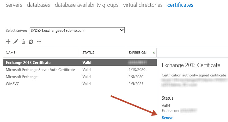 Exchange Server 2013 - Renewing an SSL Certificate