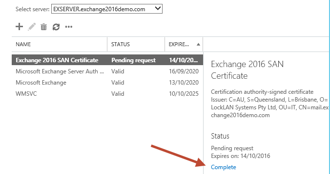 Completing a Pending Certificate Request for Exchange 2016