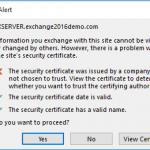 Certificate Warnings in Outlook After Installing Exchange Server 2016