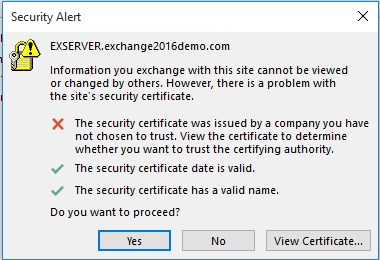 Certificate Warning In Outlook After Installing Exchange 2016