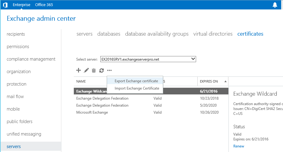 Exporting and Importing SSL Certificates for Exchange 2016