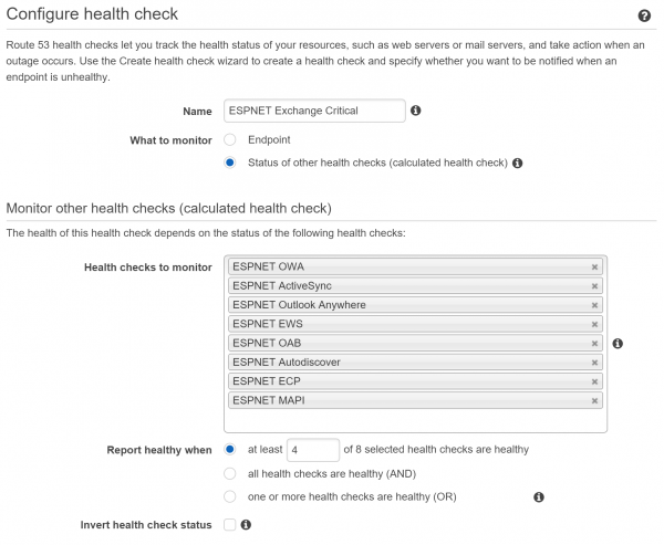 Monitoring Exchange Health with Amazon Route 53