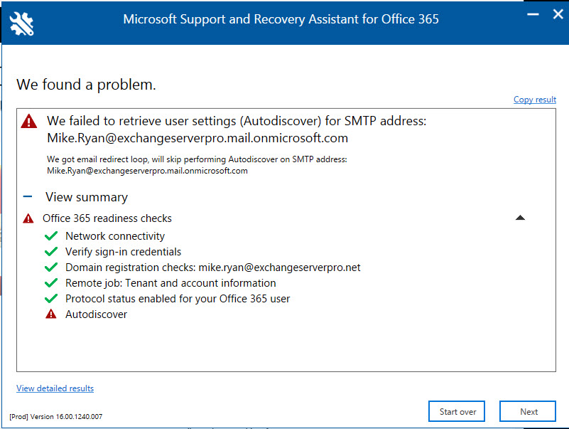 Office 365 Support and Recovery Assistant (SaRA)