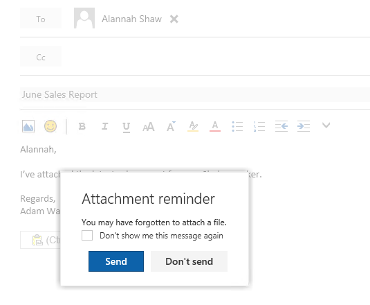 Restore the Forgotten Attachment Warning in Outlook on the Web