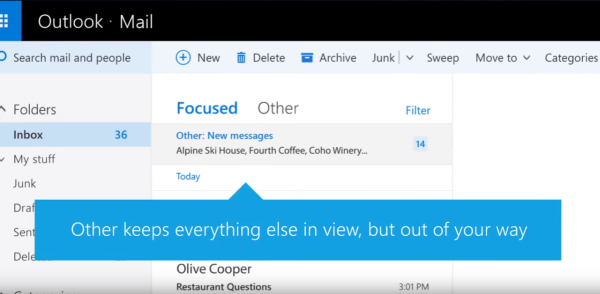 how to turn off outlook focused