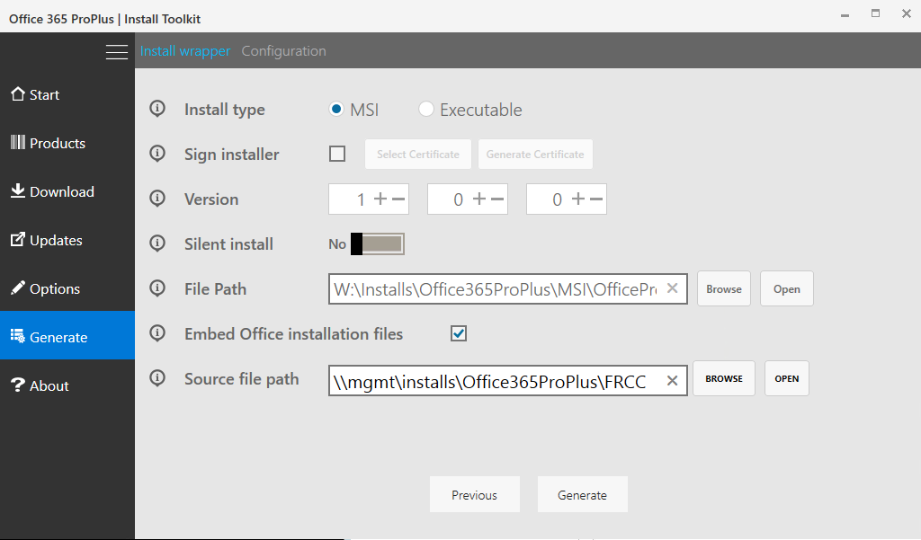 Creating an Office 365 Client Application Installer Using the