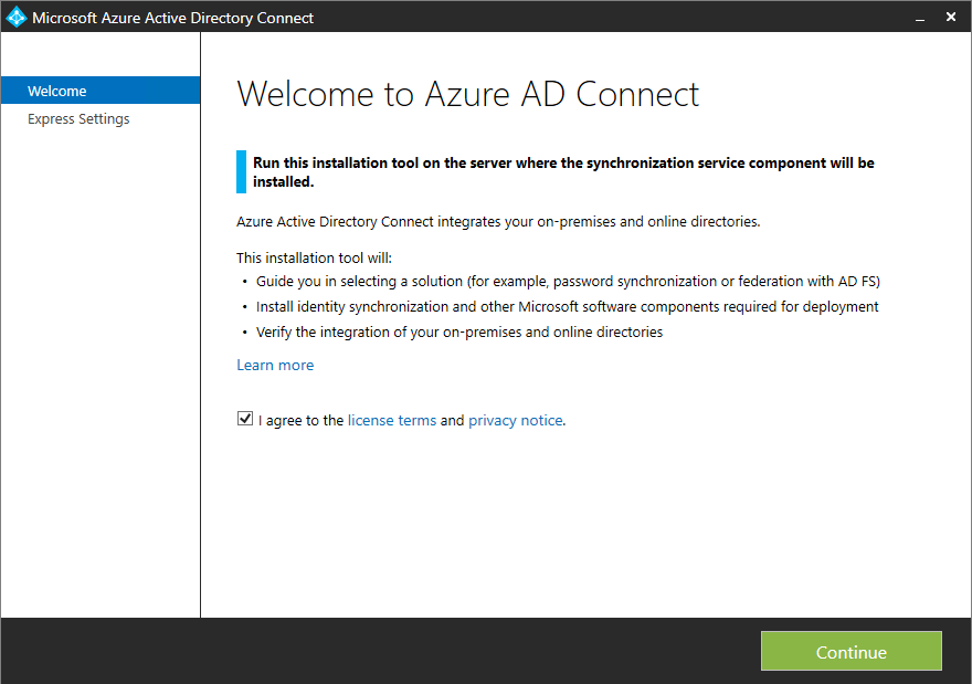 Installation Azure AD Connect