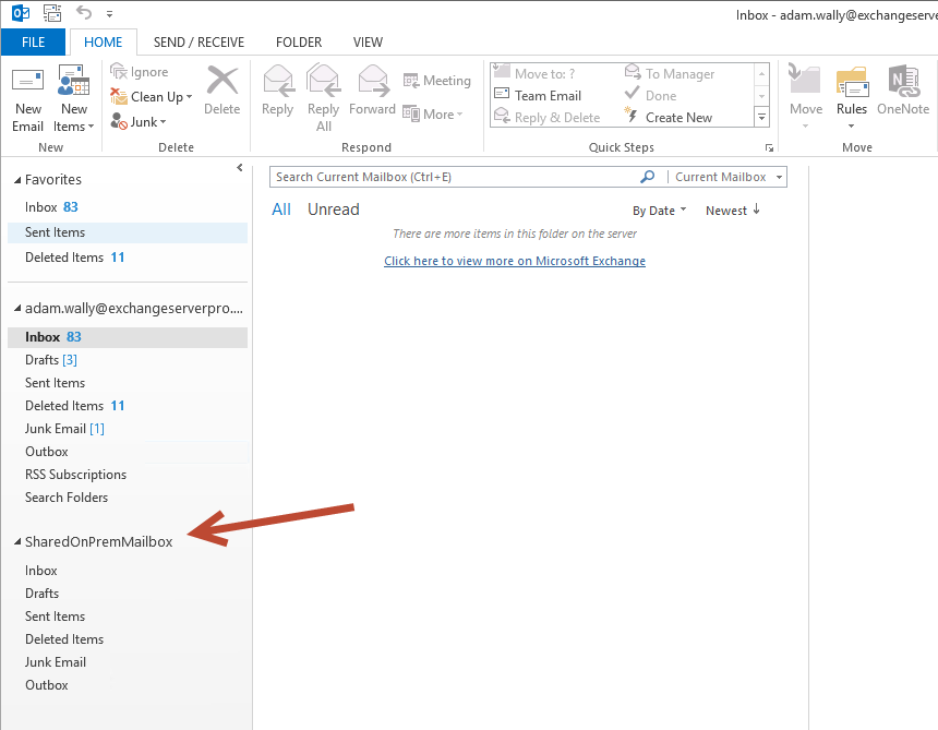 Removing an Auto-Mapped Mailbox from Outlook