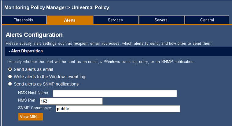 Mailscape 365 alert configuration
