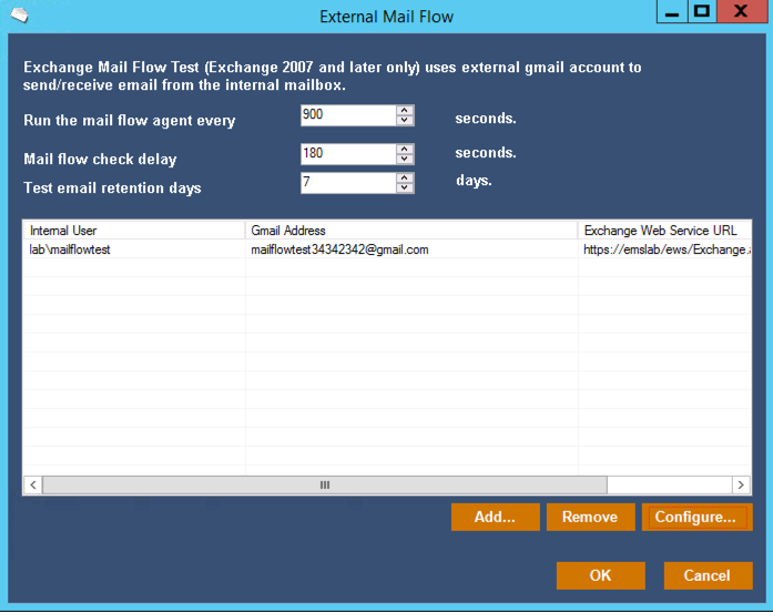 Configuring the external mail flow test in Mailscape
