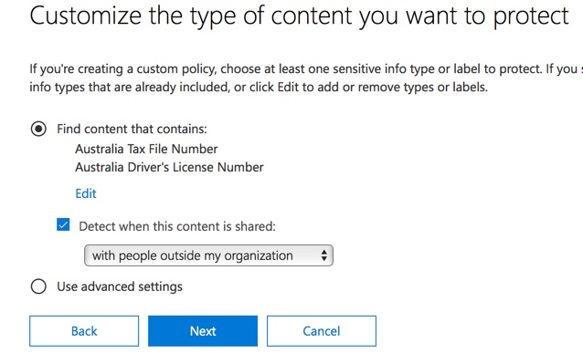 after clicking on next youll be presented with an additional policy settings page with more customization options for a policy that you are just testing