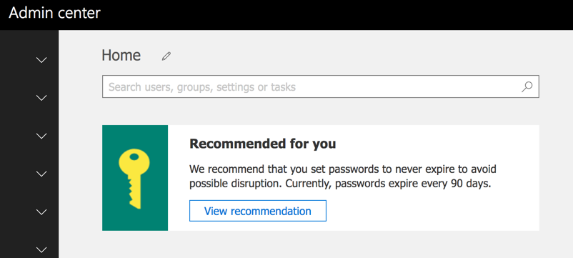 Microsoft Recommends Non-Expiring Passwords for Office 365