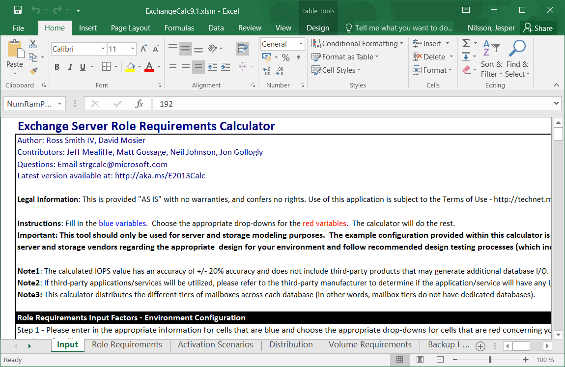 Using the Exchange Server Role Requirements Calculator