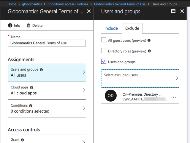 Azure AD Terms of Use or Conditional Access Breaks Directory Sync