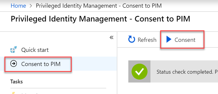Privileged Identity Management consent screenshot