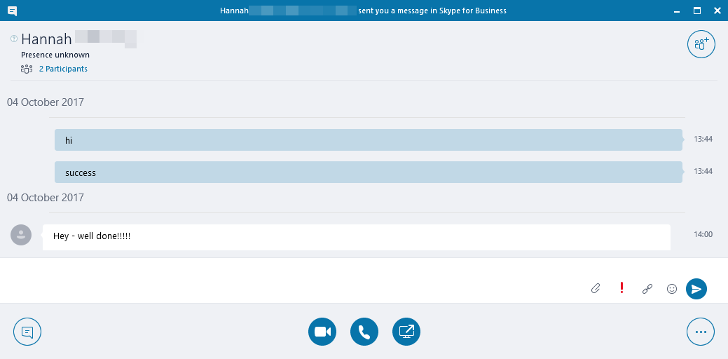 Skype for Business vs Teams messaging screenshot