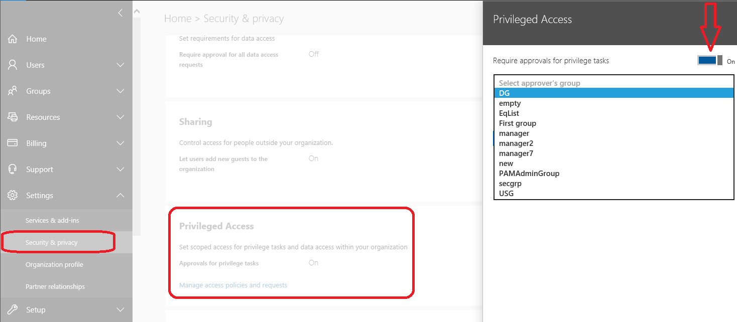 Priviliged Access Management in Office 365 Screenshot