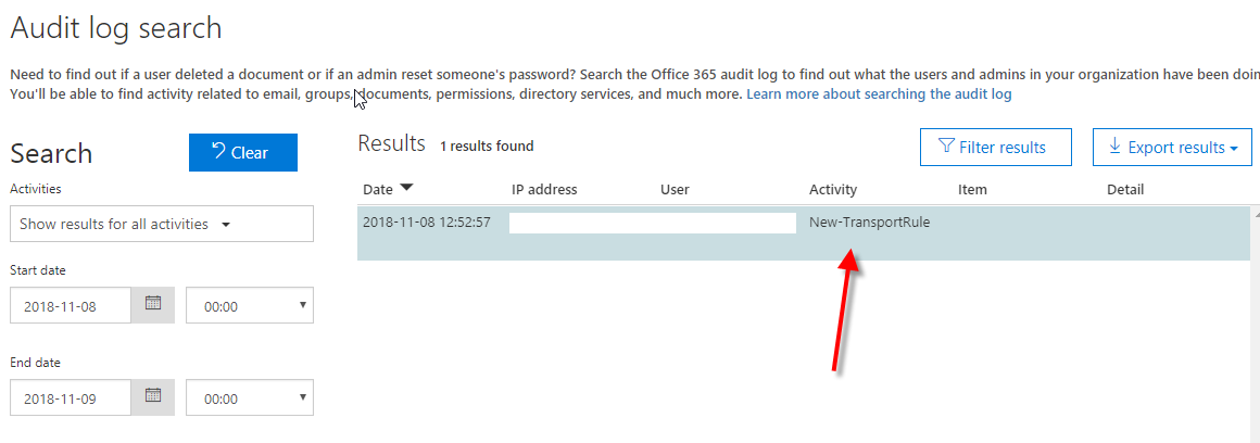 Activity Alerts Screenshot of New-TransportRule