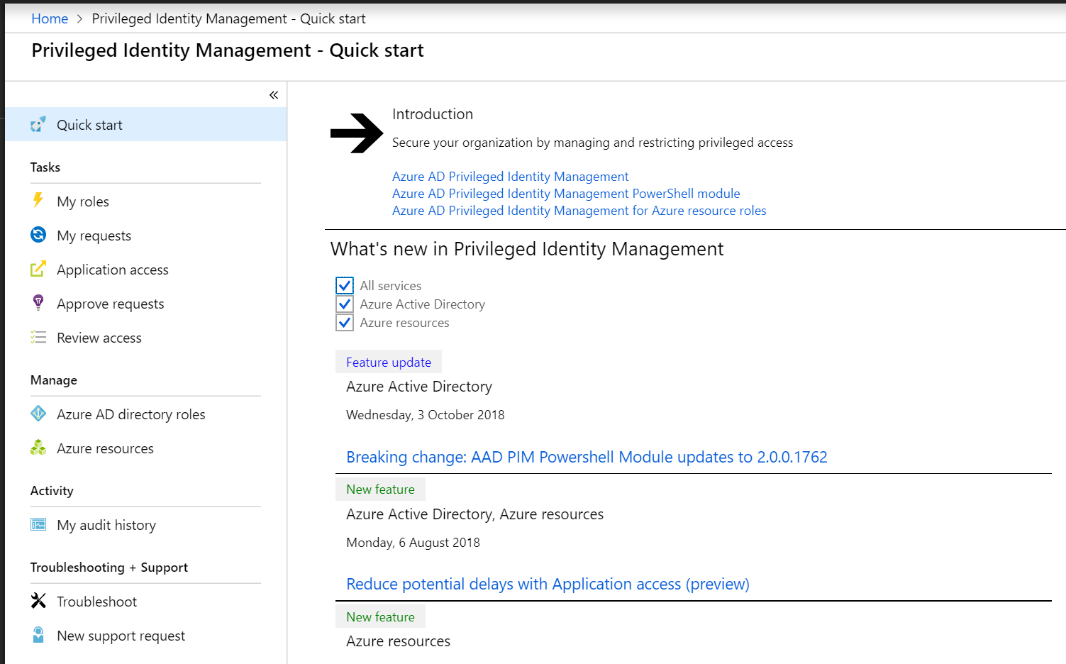 Privileged Identity Management - Quick start